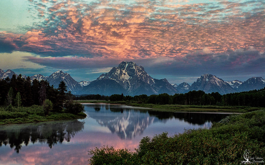 "Oxbow Bend. Nikon F5 | Tamron SP24-70mm | Really Right Stuff | Singh-Ray Filters | F\16 -20"" exposure. First and last beautiful clouds I witnessed on my adventure in the Tetons National Park for 11 days."
