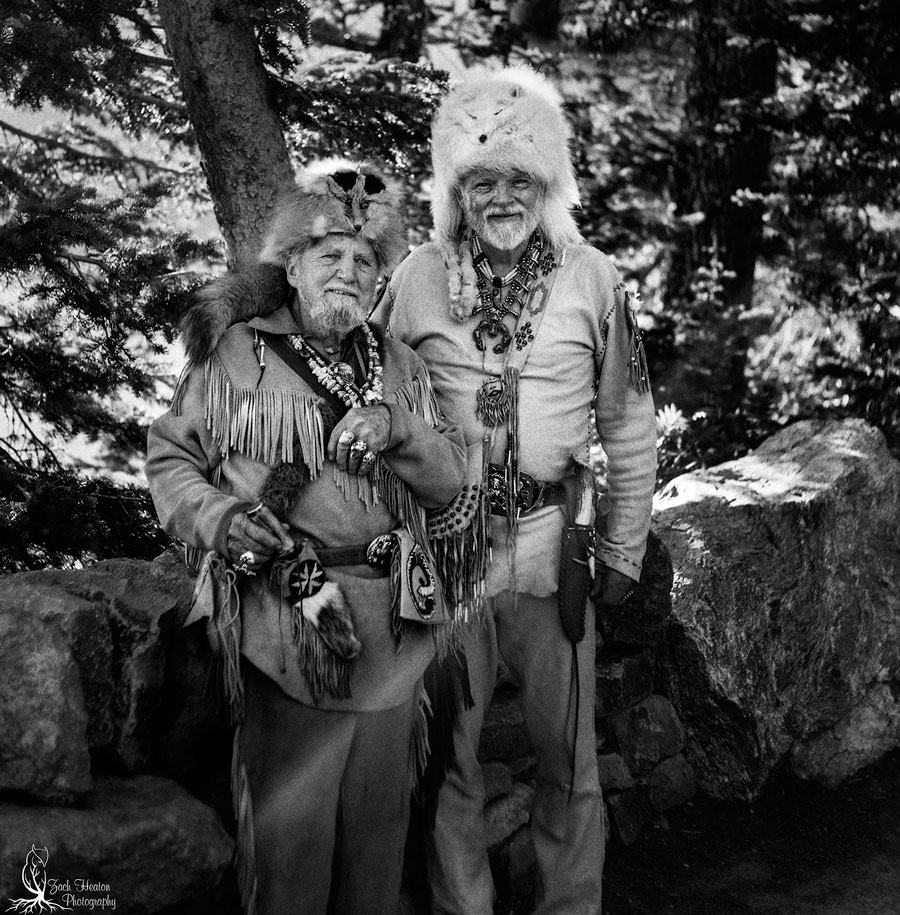 Mountain men. Mamyia C3 | Really Right Stuff | Arista Ultra100/120 F4-1\60 Backlit over exposed 1\3 of a stop. Ran into these to fine gentleman while shooting Jenny Lake. A father and son team. The son is a photographer as well and started out shooting a twin reflex Mamiya C330
