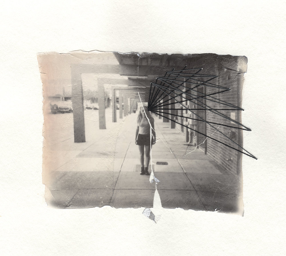 Hallway | Polaroid Spectra | Impossible Project Spectra BW | Emulsion Lift With Thread | Jocelyn Mathewes | @jocelynmathewes