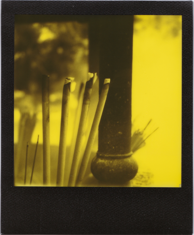 Burning Incense, Po Lin Monastery, Hong Kong | Polaroid SX70 | Impossible Project Black & Yellow Duochrome | Dave Morgan
