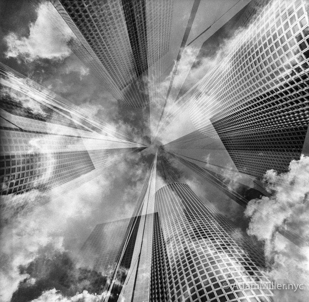4 Exposures on One | Tri-X | 6 x 6 Hassy SWC | Negative of the Azrieli Towers in Tel Aviv | Adam Miller
