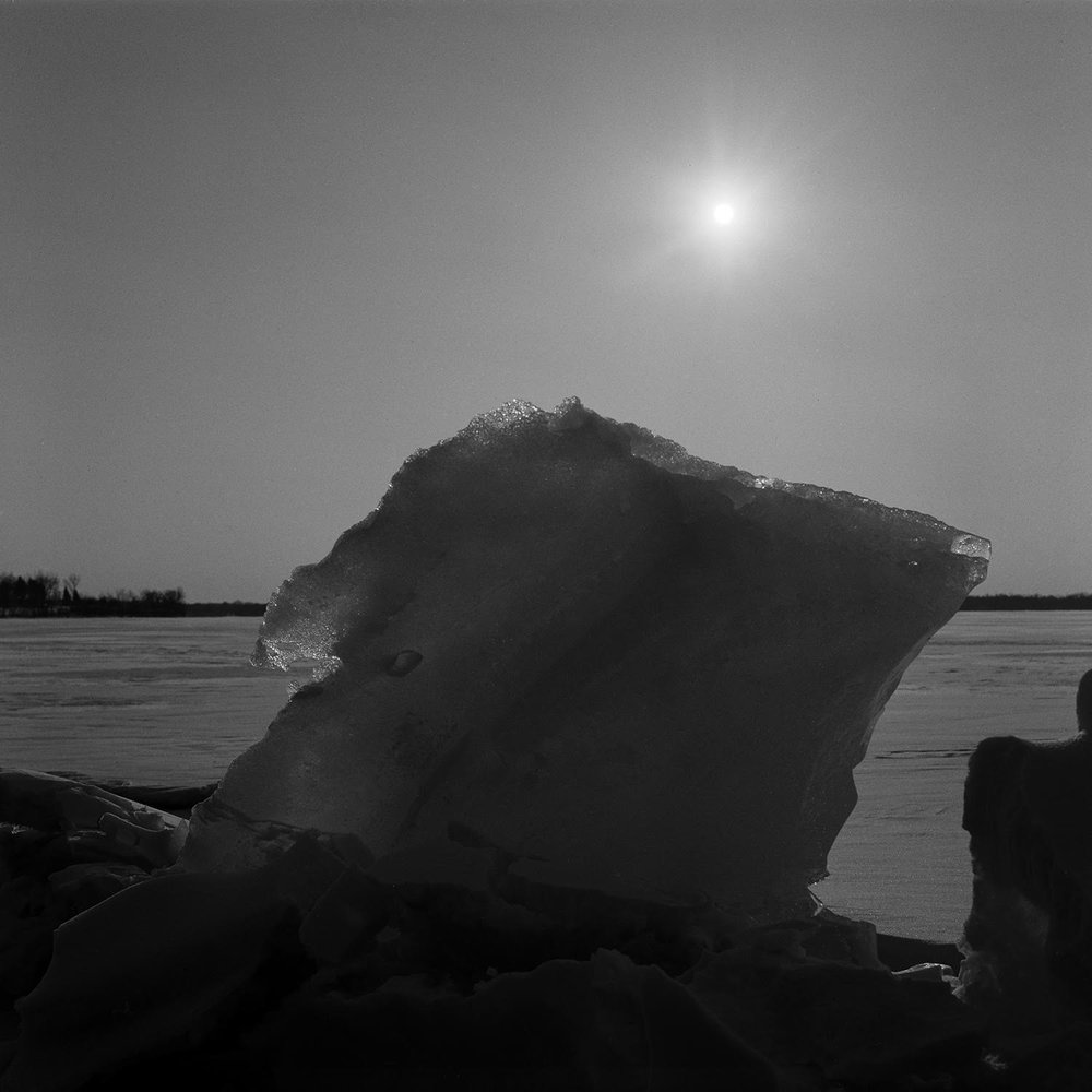 River Ice 2017.  Ilford Delta 400. The lens is remarkably free of ghosting for an old single-coated design. Here the sun was directly in the frame.
