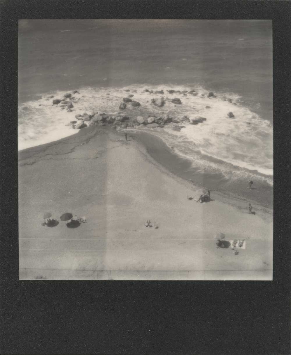 The Bathers Down There | Polaroid SLR680 | Impossible Project 600 B/W | Ale Di Gangi