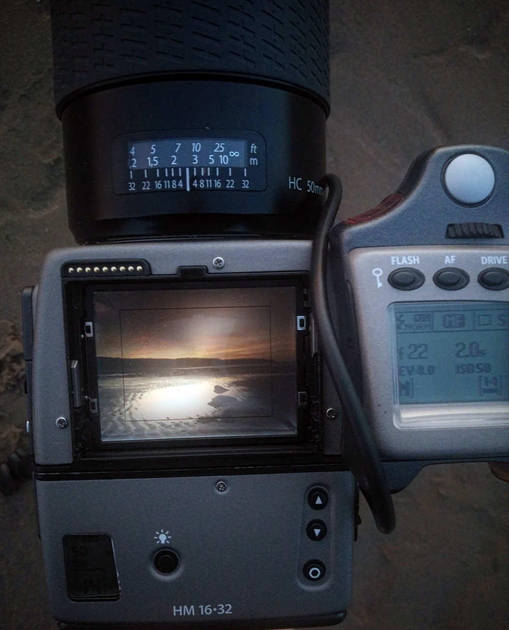 Again with the prism removed, LCD showing shutter speed, aperture and EV