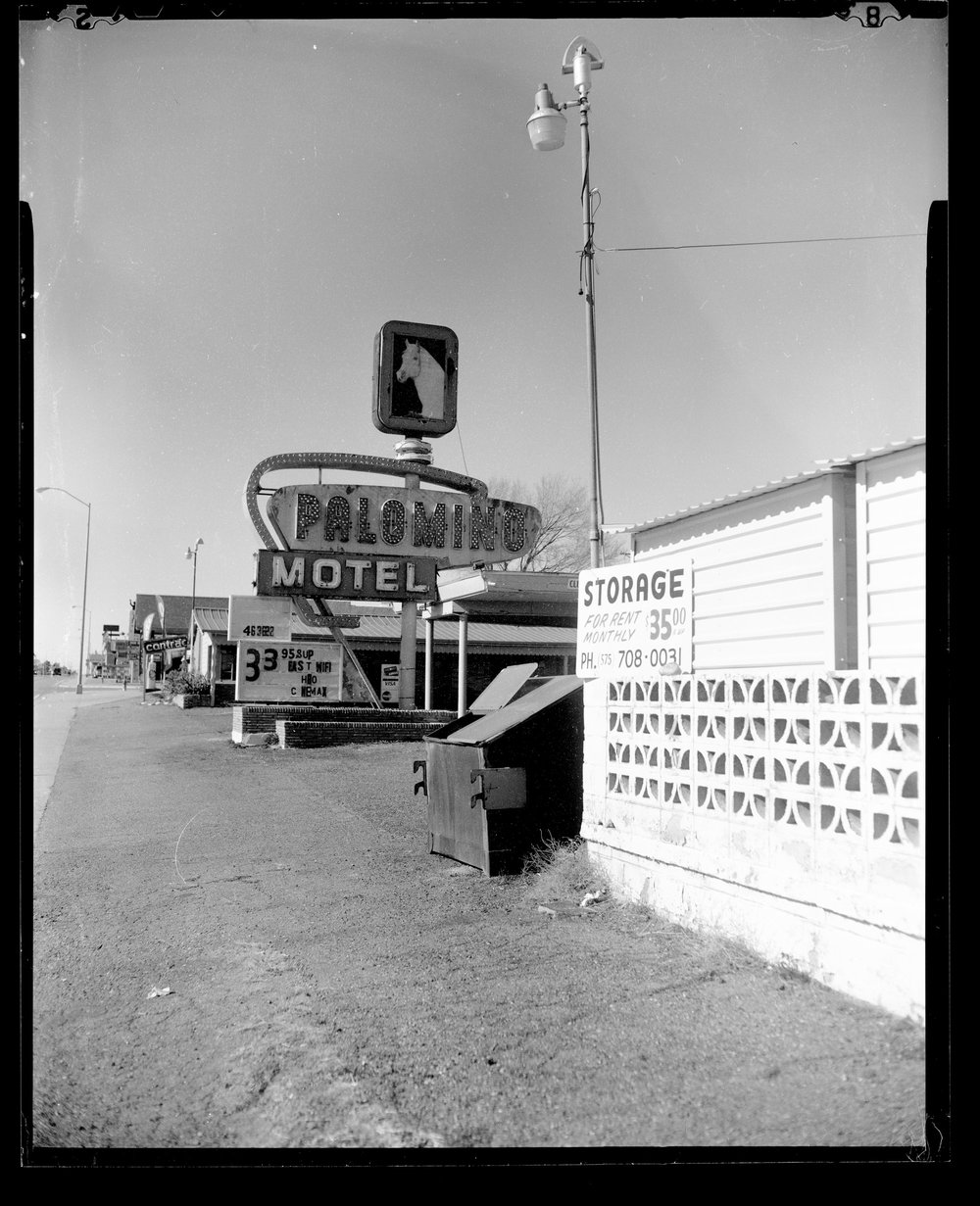 The Palomino Hotel, Tucumcari, NM. CAMERADACTYL OG 4x5, Expired (1992) Plus-X, Kodak Ektar 127mm