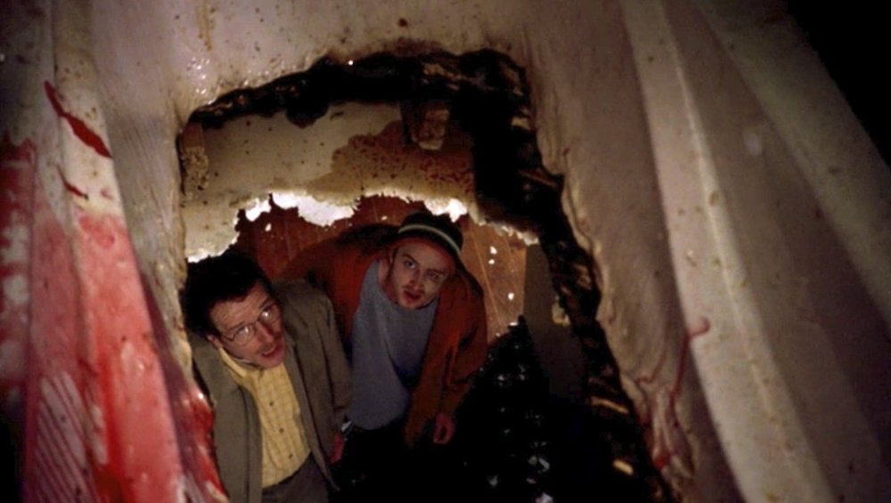I'd have given up on the selling-meth-to-support-my-family project the minute a bathtub of liquified person crashes through the ceiling.
