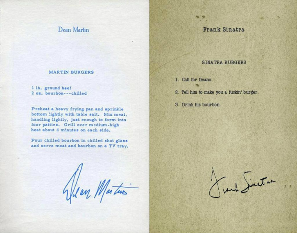 parislemon :      meganwest :      turnabout :      wendy-strawberry :     Burger recipes by Dean Martin and Frank Sinatra.     always reblog.     Still the best.     Yep. Worth another reblog.     Sinatra's Burger Recipe