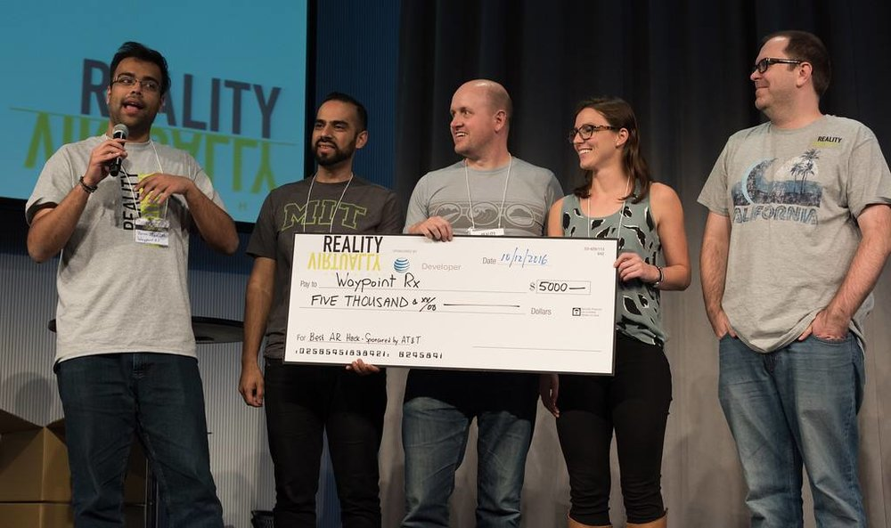"""Best AR Hack"" and ""Best Non-Game AR"" at the 2016 Reality, Virtually Hackathon at the MIT Media Lab"