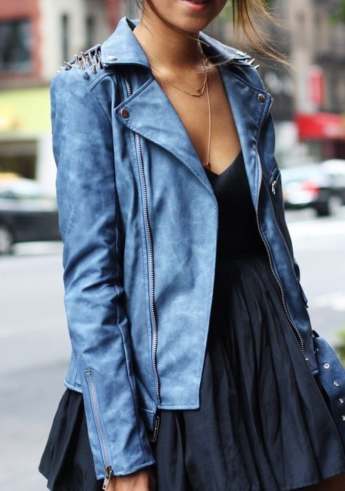 Studded Blue Moto Jacket