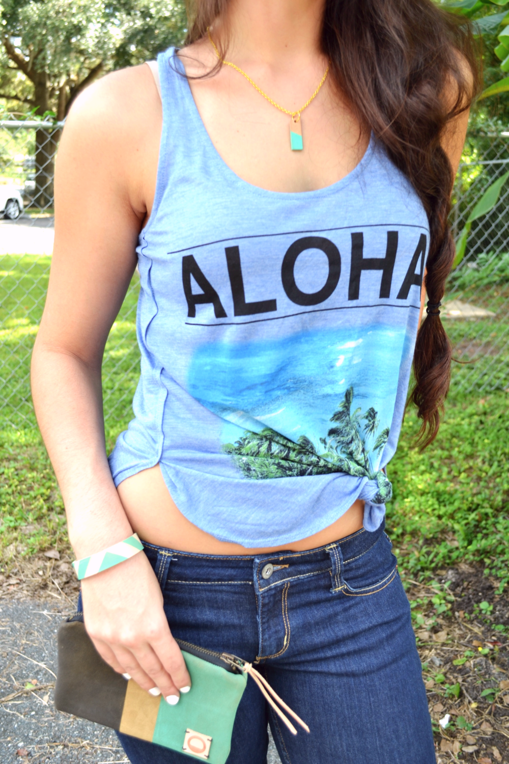 Leather Accessories + Aloha Tank