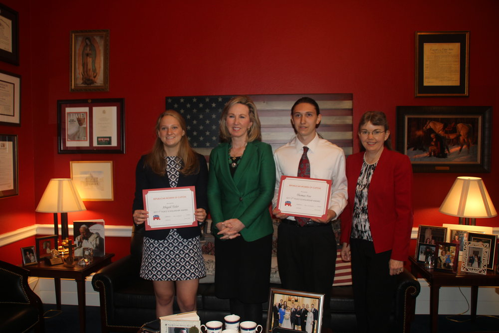 Congresswomen Comstock meeting with the winners of our $1000 scholarship essay contest winners.