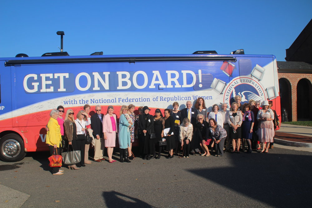 "The NFRW's ""Rosie the Bus"" visited our Celebrate Women's Right to Vote event"