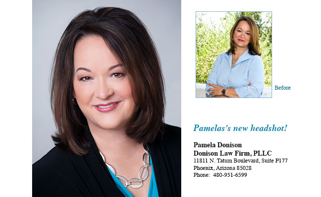 Pamela Donison has a brand new look. Her new headshot establishes her as an authority on family law.