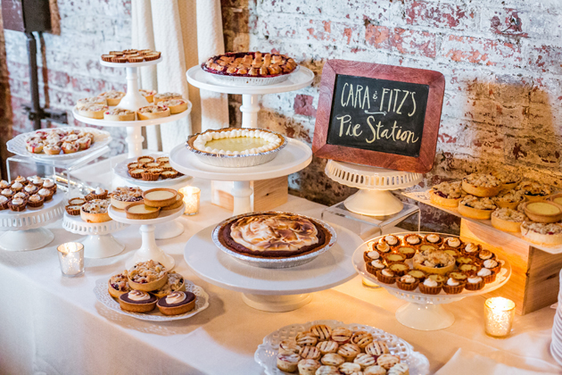 11Rustic-Meets-Urban-Brooklyn-Wedding-JoshuaZuckerman-reception-pie-display.jpg