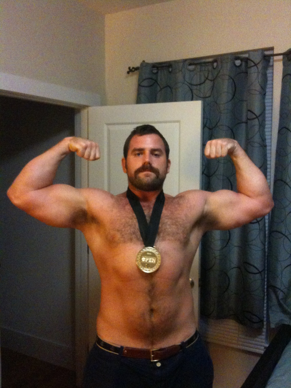 This is what 245 lbs. of champion looks like.  With a mustache.