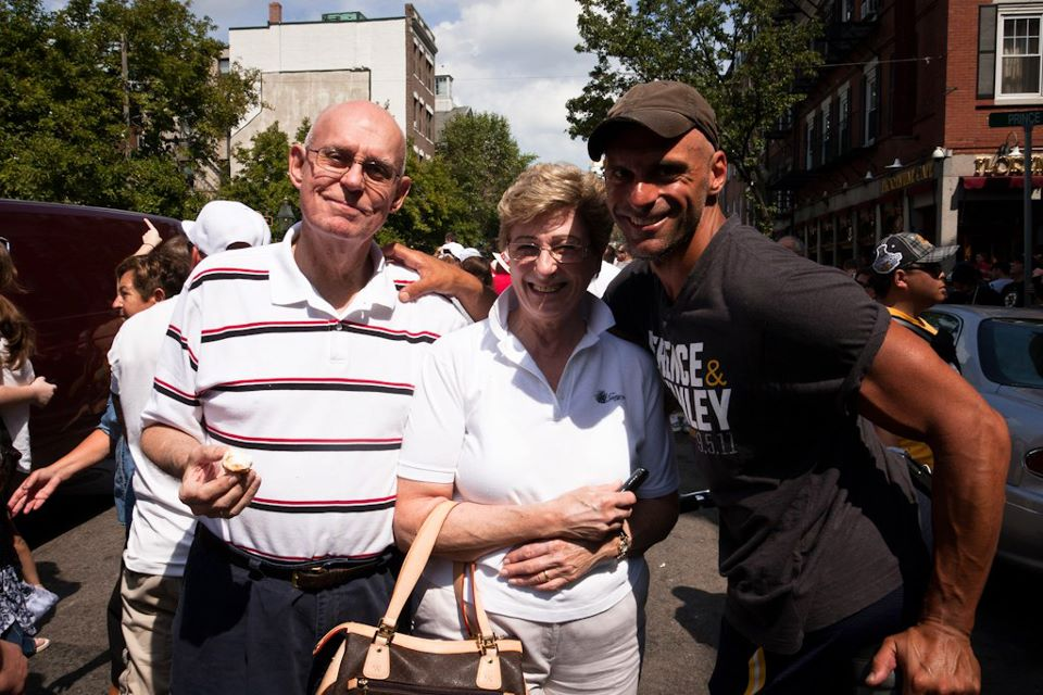 My dad, shortly after receiving the diagnosis of his cancer in 2011, with my mom Barbara and myself, on my pedicab, at a parade in Boston's North End.