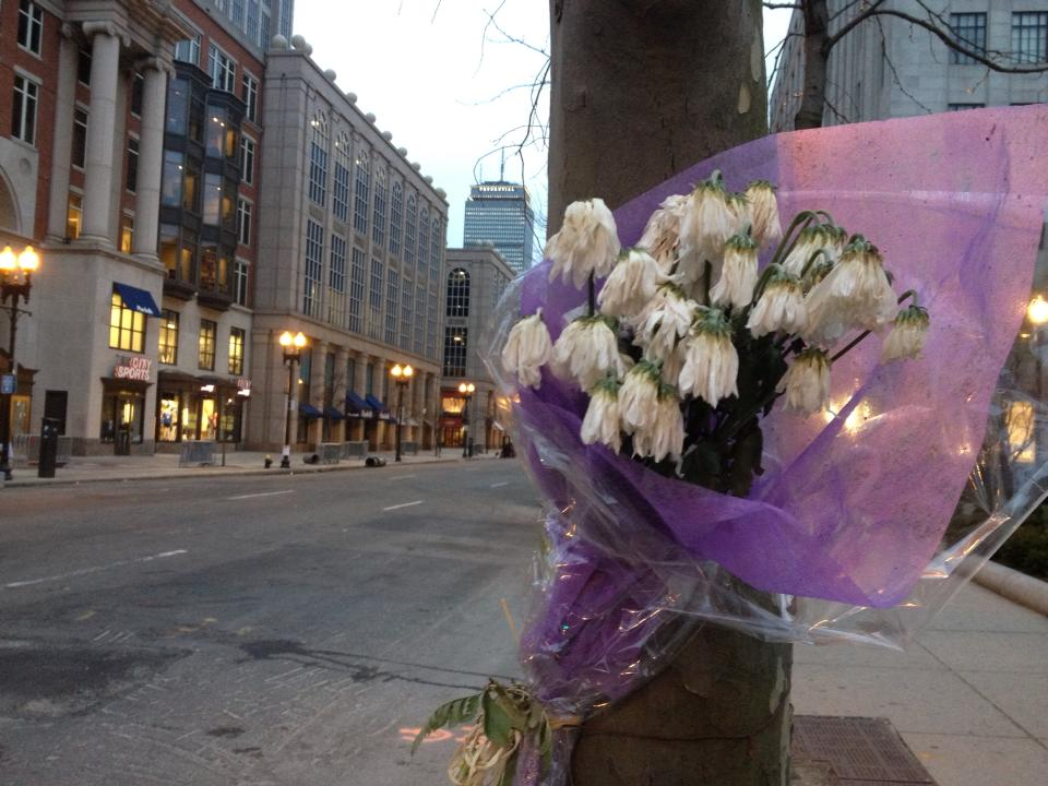 Impassioned memorials were improvised throughout Boston's Back Bay neighborhood.