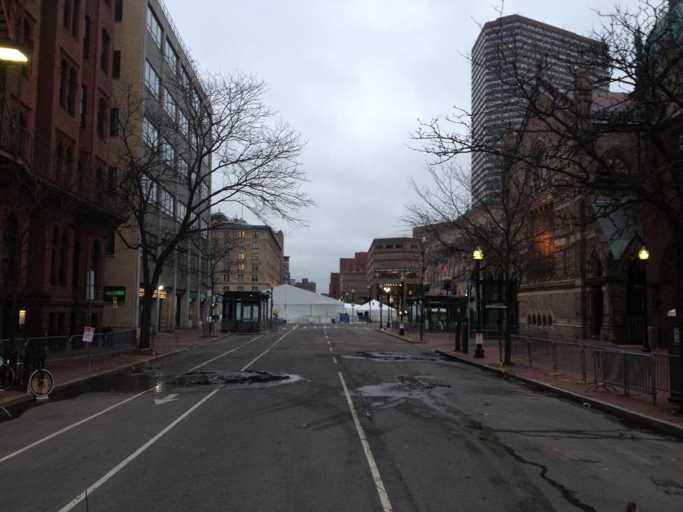 Copley Square transformed overnight into a mobile bomb unit.