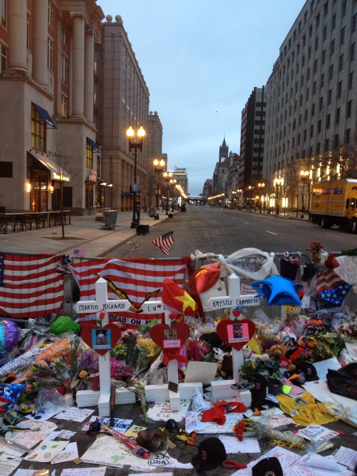 The largest improvised memorial lasted 6 days at the corner of Boylston Street and Berkeley Street,