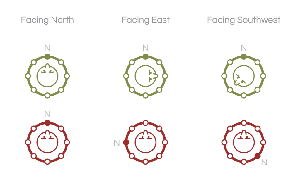 The green figures show which motor is vibrating relative to north. The red figures indicate which motor is vibrating relative to the user (i.e. where the user feels the vibration).