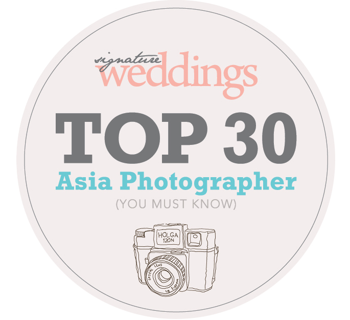 Asia Top 30 Photographer by Signature Weddings