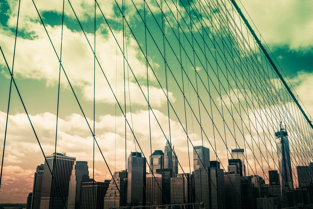 The iconic view of downtown Manhattan from the Brooklyn Bridge