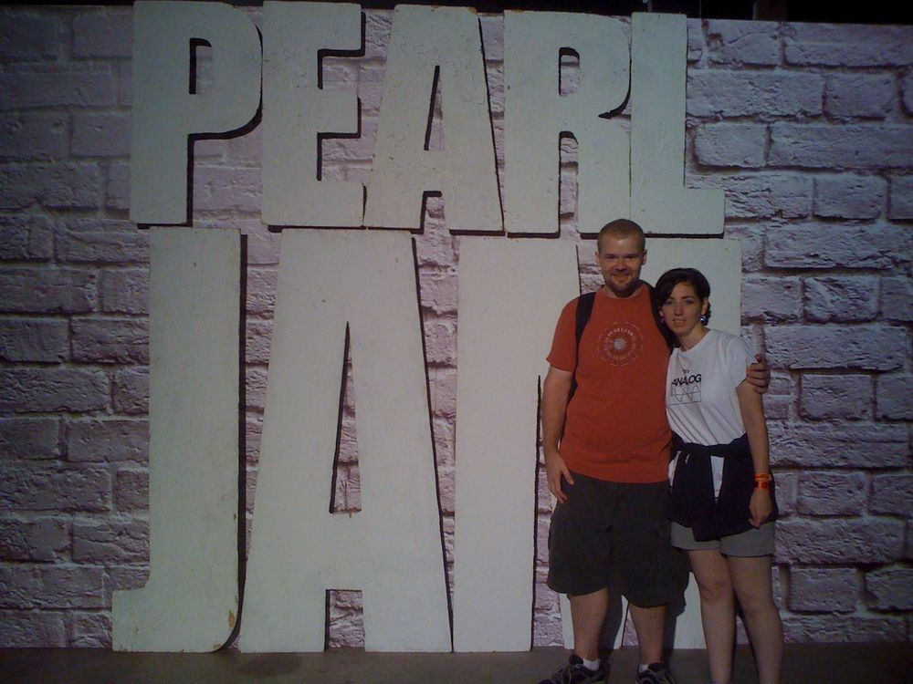 "At PJ20 Anniversary Weekend, Alpine Valley, WI  - taking a photo in front of the original Pearl Jam sign from the ""Ten"" cover."