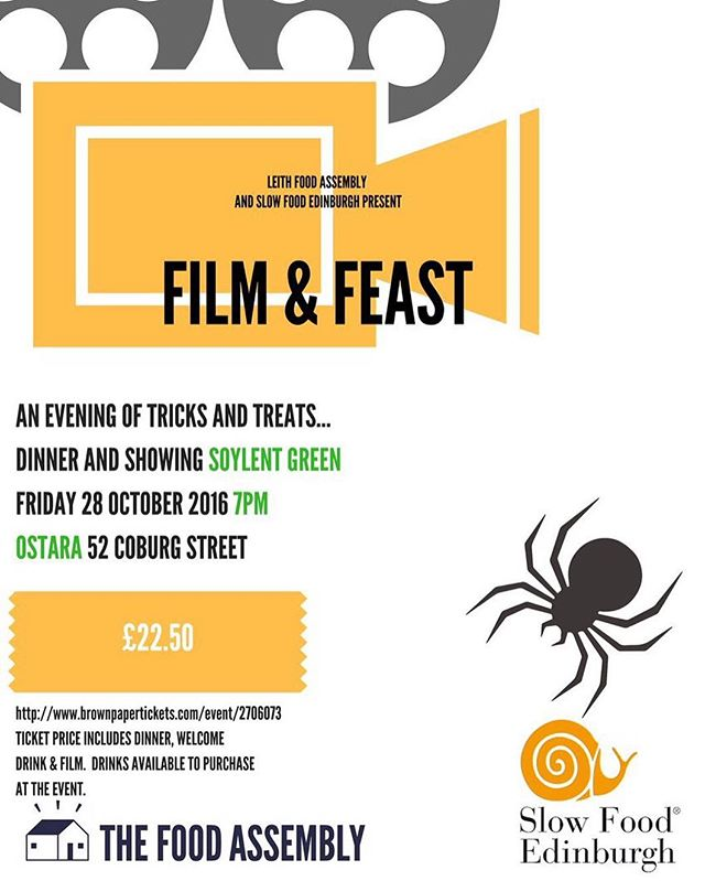 Interested in the #futureoffood ?A passionate #70s #cultfilms fan in need of your fix? Or looking for an alternative & tasty way to celebrate #halloween this year?  Our #filmnight in collaboration with @leithfoodassembly @ostaracafe next Friday 28th October might be the event you're searching for ... Sit back and enjoy a screening of #soylentgreen - a cult classic 70s #Sci-fi thriller set in a densely overpopulated and starving New York City of the future...Whilst you tuck into a #TVDinner with a difference incorporating futuristic #foodie concepts along with delicious #local sourced produce.  More information, the #futuristic menu and booking are all available through @brownpapertickets -- http://www.brownpapertickets.com/event/2706073  #eatlocal #alternativefoodfuture #cultclassic #film #foodfilm #edinburgh #soylent #foodassembly #goodcleanfair #halloweenhorrornights