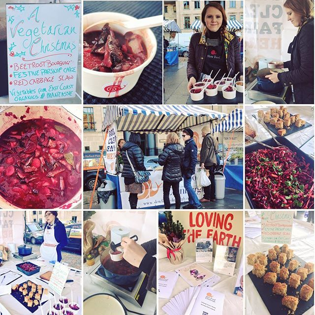 So pleased to see three of our favourite #vegetarian #Christmas recipes go down a storm today @edfarmersmarket whilst promoting #tmd2016 & our upcoming ' #terramadre tales' evening @ostaracafe  We had tasters of @luisegreenkitchenstories (both adapted recipes) #beetroot bourguignon & parsnip cake along with a @riverford #redcabbage & pomegranate slaw - all using #eastcoastorganics & @phantassieorganicproduce veggies & @realfoods_uk dry goods (recipe cards went down a treat as well!) #goodcleanfair #eatlocal #slowfood #farmermarket #cooking #recipes #scottishfood #seasonalfood