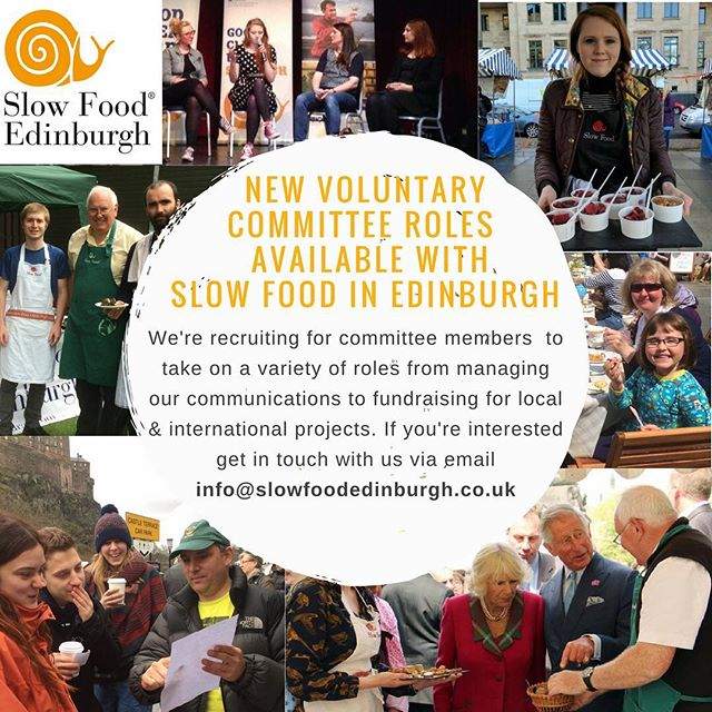 We're #recruiting for a range of new committee roles for 2017 - 18!  From managing our #communications #treasurer and #fundraising coordinator for local and international projects - there's various #volunteering opportunities to get involved with shaping the future of #SlowFood in #Edinburgh.  If you're interested please get in touch via email on info@slowfoodedinburgh.co.uk! #goodcleanfair #sustainablefood #workexperience #skillsexchange #workwithus #recruiting #volunteeredinburgh