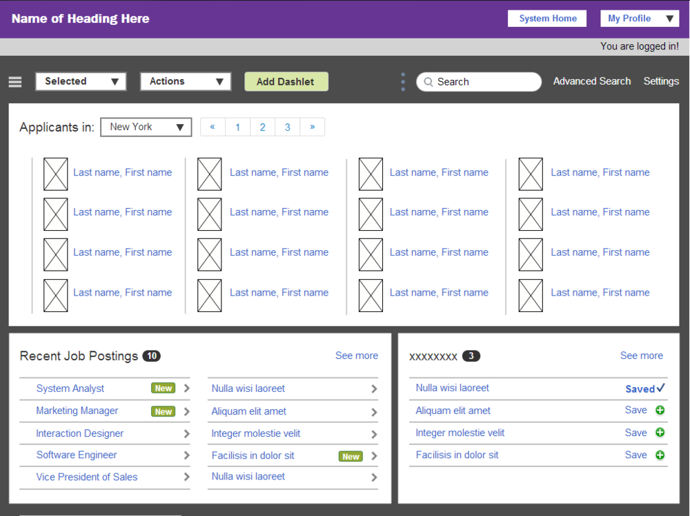 HIRING MANAGEMENT DASHBOARD Client: Monster.com Category: User Interface Design