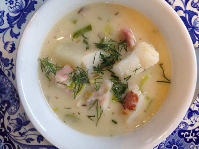 Bacon, Corn and Cod Chowder. Recipe development and photo by Melissa A. Trainer