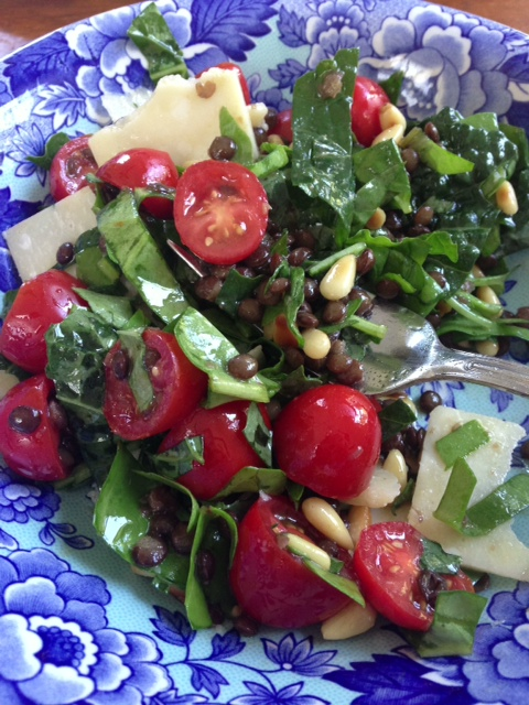 Lentil, Kale and Baby Beet Green Salad