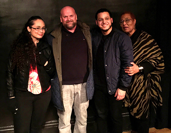 Jazmine Cornielle, Playwright Michael Terence O'Brien, Peter Celos, and Christine Smith - Cast and Playwright of THE CURB - March 2018
