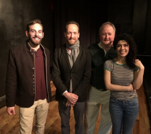 Michael Buckhout, Playwright Jonathan A. J. Northover, Kevin Magee, & Kamala Israfilova, the cast & playwright of People Like Us