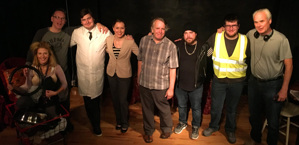 The Cast and Crew of THE STRUGGLE FOR SPACE by Fred Bruggeman  From left to right: Evie Bee, Ken Wolf, Sam O'Sullivan, Jennifer Rizzi, Danny McWilliams, Daniel Garcia, Kyle Ferris and Fred Bruggeman