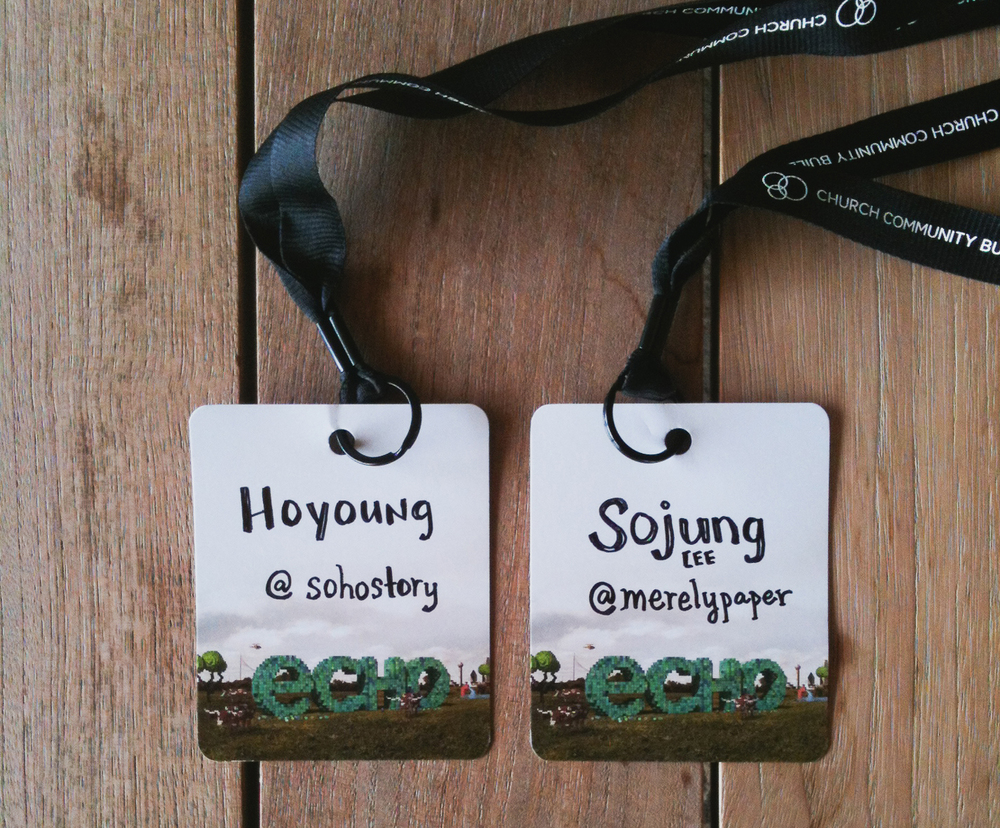Our name tags from the ECHO Conference in July 2013, when Sojung had been freelancing full time for only two months.