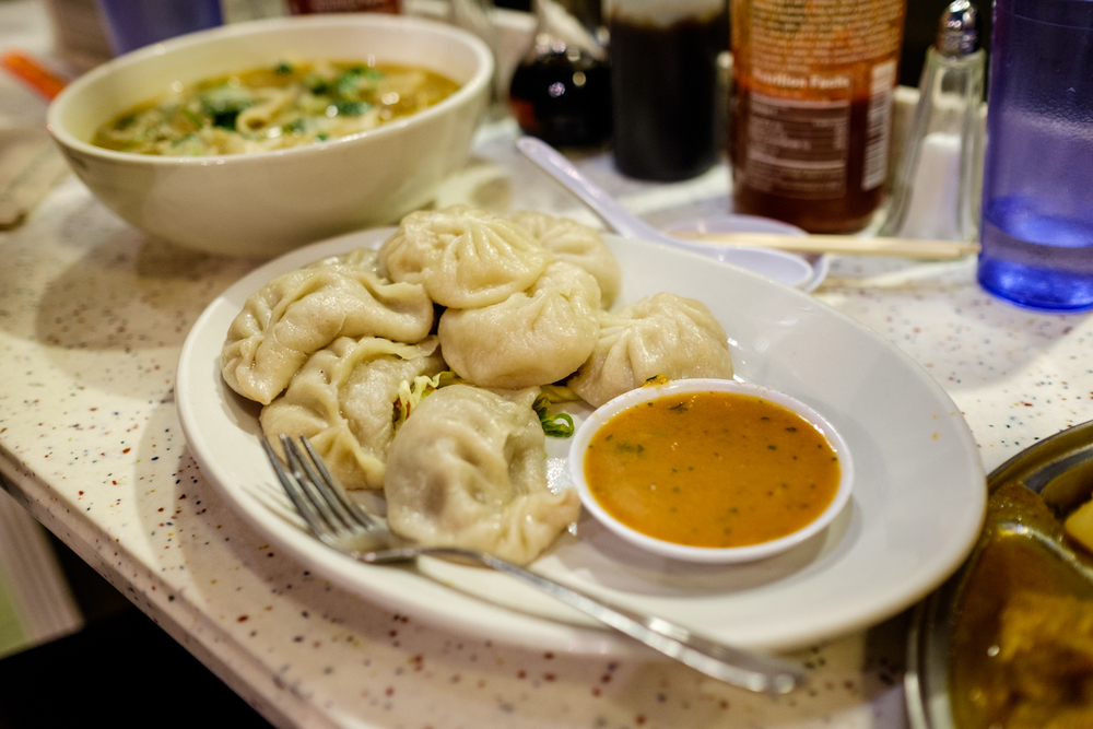 Gyathuk (Long Noodle Soup with Beef); Momos