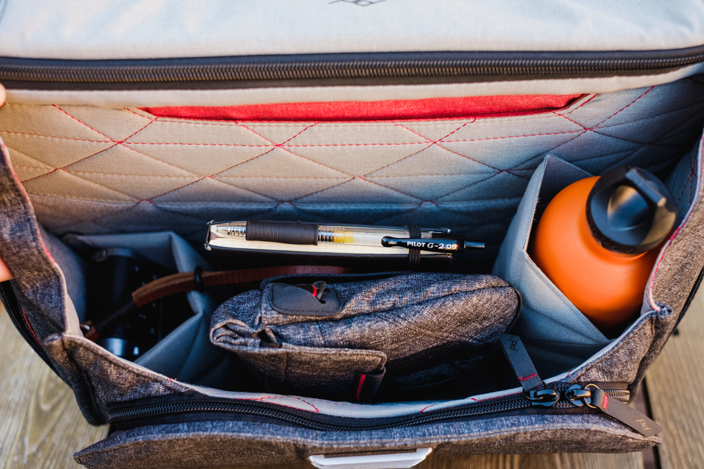 """My typical setup for everyday use. Fujifilm X100s camera, Moleskine notebook with Pilot G-2 pen attached, Field Pouch, Shure E535 Earphones and Hydroflask water bottle. Not in the picture, Apple Macbook Pro 15"""" and Amazon Kindle Paperwhite in the back."""