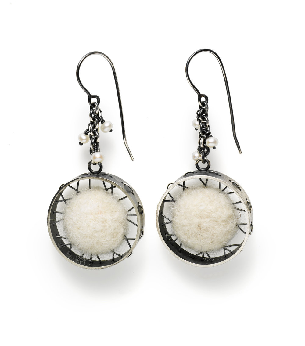 "Oxidized sterling silver earrings with natural white wool felt and pearls 1"" diameter x 2"" long"
