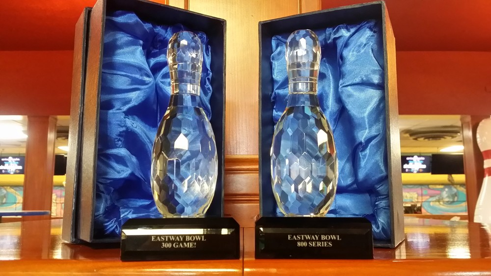 Exclusive for Eastway Bowl League Members! Shoot a 300 game or 800 series in league play and Eastway will award you with this beautiful Crystal bowling award!