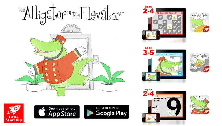 ALLIGATOR IN THE ELEVATOR' APPS FOR PRESCHOOLERS AVAILABLE NOW FOR