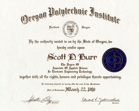 Oregon Polytechnic Intstitute Electronic Engineering Associates Degree