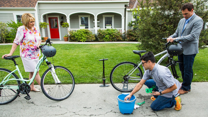 Prepping your Bike for Spring    Owner of the Rolling Cowboys Bicycle Shop, Daniel Gellis talks to Mark and Cristina about how to prep your bike for spring. He suggests always storing your bike away from direct sun, wind water and other weather elements. Bike tires should be checked and the higher the air pressure, the less likely they are to get punctured. You can also use a nail file to even out your brake pads. It is also important to always clean out the gunk from the chain.