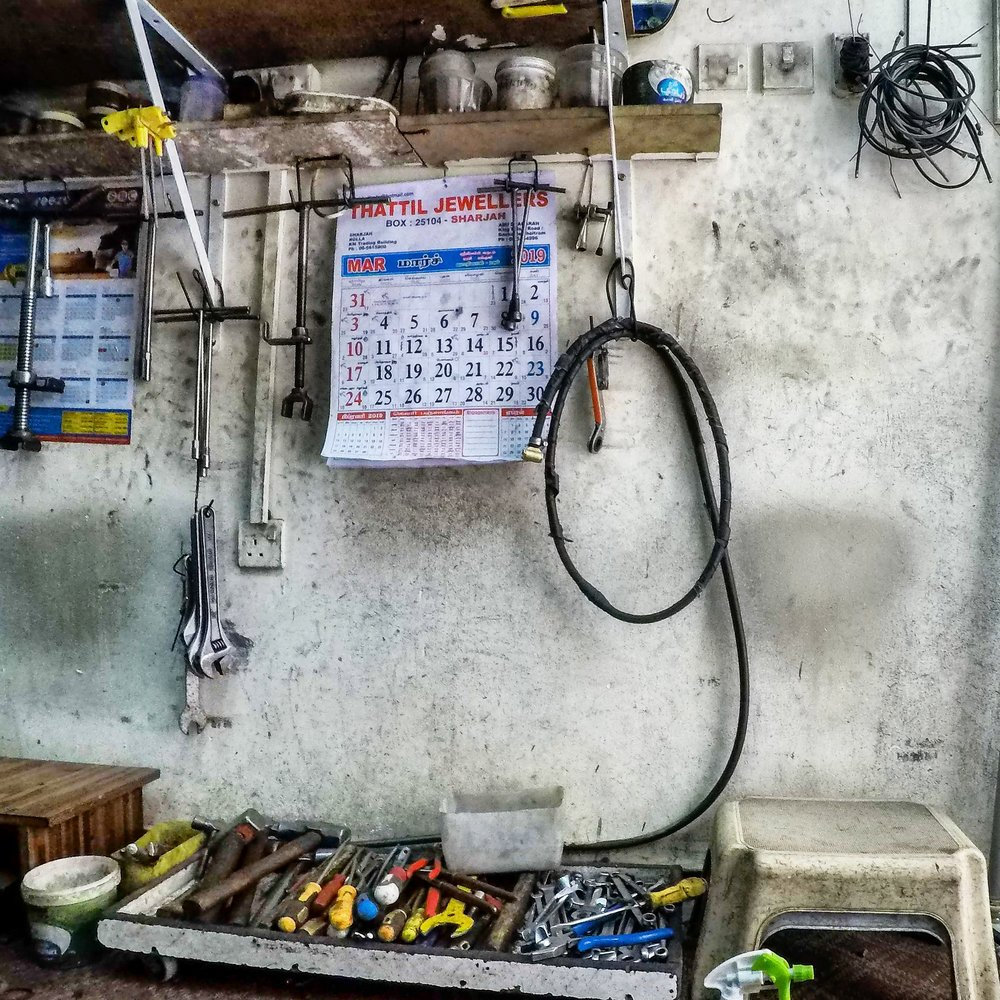 Tool wall in bike shop in Deira, Dubai, UAE