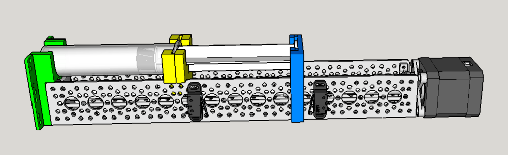 3D Model of the Syringe Pump. The front mount (green), mid mount (yellow), and plunger unit (blue) are the only custom parts that need to be 3d printed.