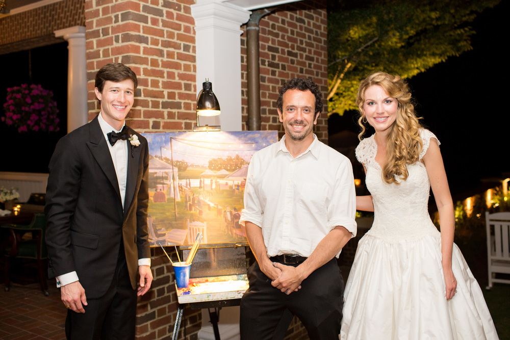 Landfall Country Club // Theo Milo Photography // Live Wedding Painting // Coastal Wilmington Wedding