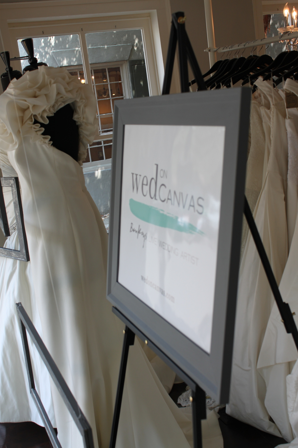 Fabulous Frocks Window Display - Charleston Wedding Artist, Ben Keys of Wed on Canvas.