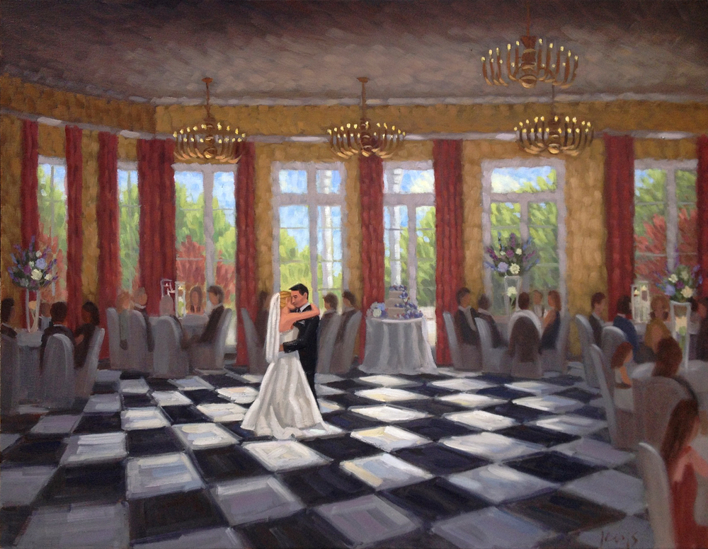 Live Wedding Painting South Carolina Country Club Ben Keys, Wed on Canvas Live Wedding Artist