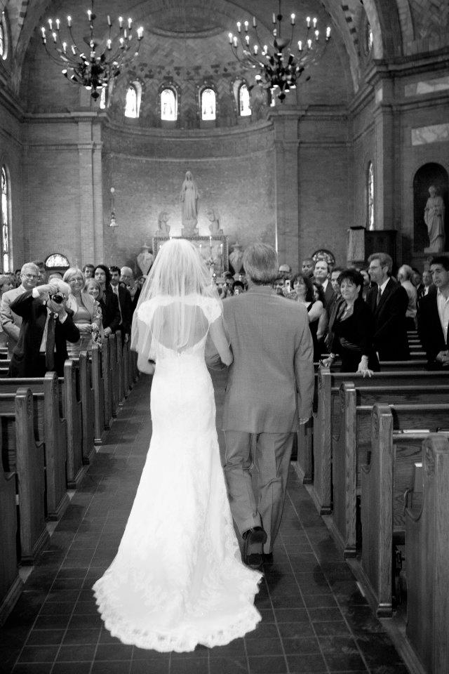 Here Comes The Bride // Wilmington, NC Wedding // St. Mary Catholic Church // Live Wedding Painter // Ben Keys of Wed on Canvas // Photo Courtesy of KMI Photography